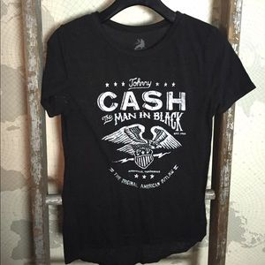 Johnny Cash black burn out tee S GUC